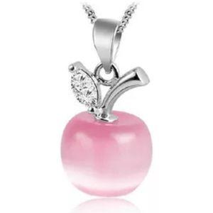 🎀925 Pink Opal Apple Pendant